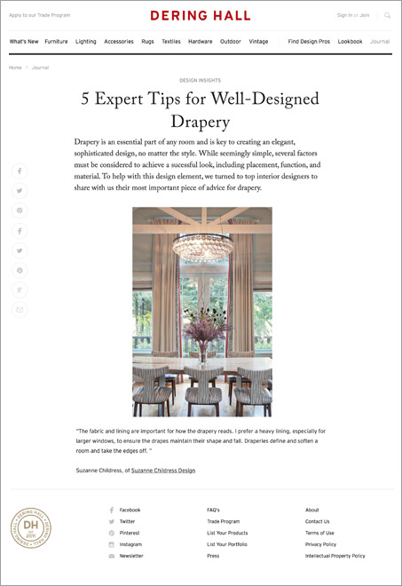 Suzanne Childress Design Dering Hall 5 Tips for Well Designed Drapery